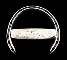 A racing plate from Iroquois who in 1881 became the first American-bred thoroughbred to win The Derby at Epsom,