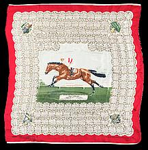 A silk Derby scarf commemorating the victory of the French racehorse Phil Drake in 1955,