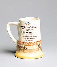 A Royal Doulton pottery tankard commemorating the 1937 Coronation Year Grand National tankard won by