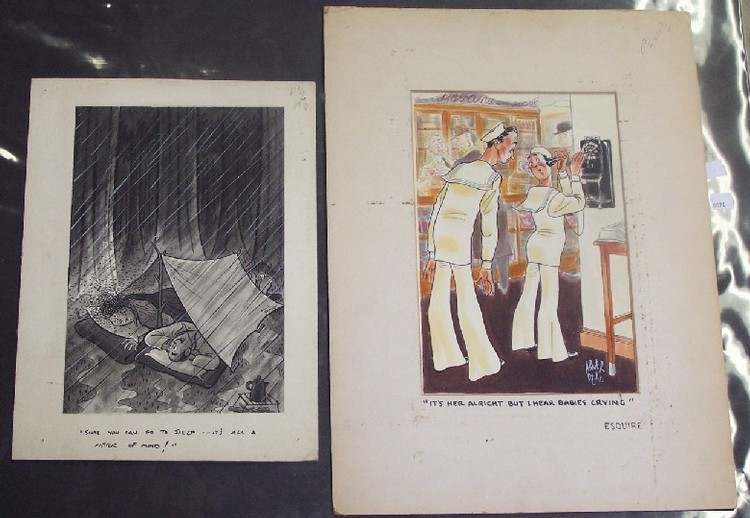 TWO ORIGINAL ILLUSTRATIONS One for Esquire magazine, by Abner Dean (Born 1910 American), approximate image 12'' x 8'', signed lower right, together with an illustration by an unknown artist depicting campers, approximate board size 15'' x 11''.