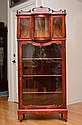 EDWARDIAN BONNET TOP CURIO DISPLAY CABINET