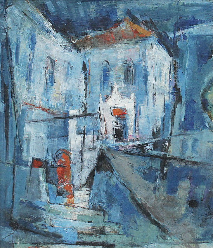 YINHUI CHEN ABSTRACT BLUE STREET SCENE PAINTING
