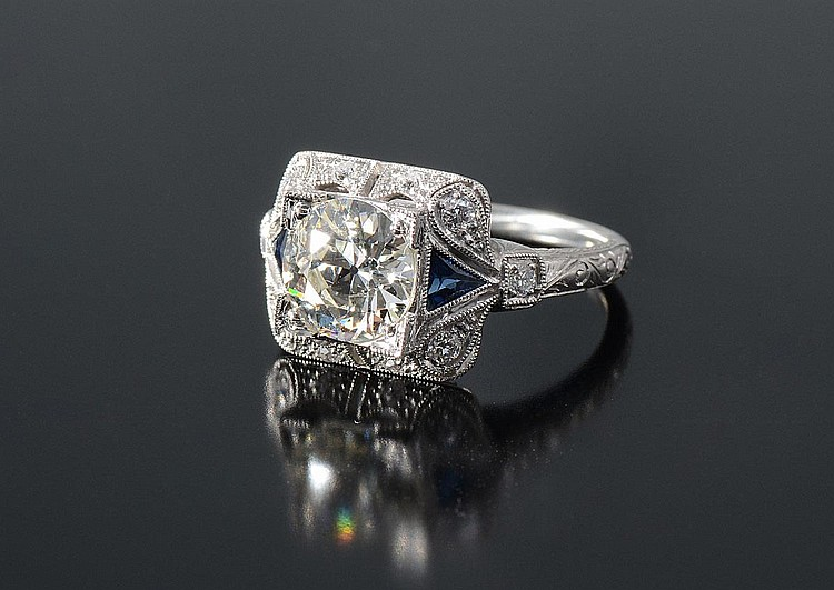 PLATINUM 1.91 CT CENTER DIAMOND RING W/ SAPPHIRES