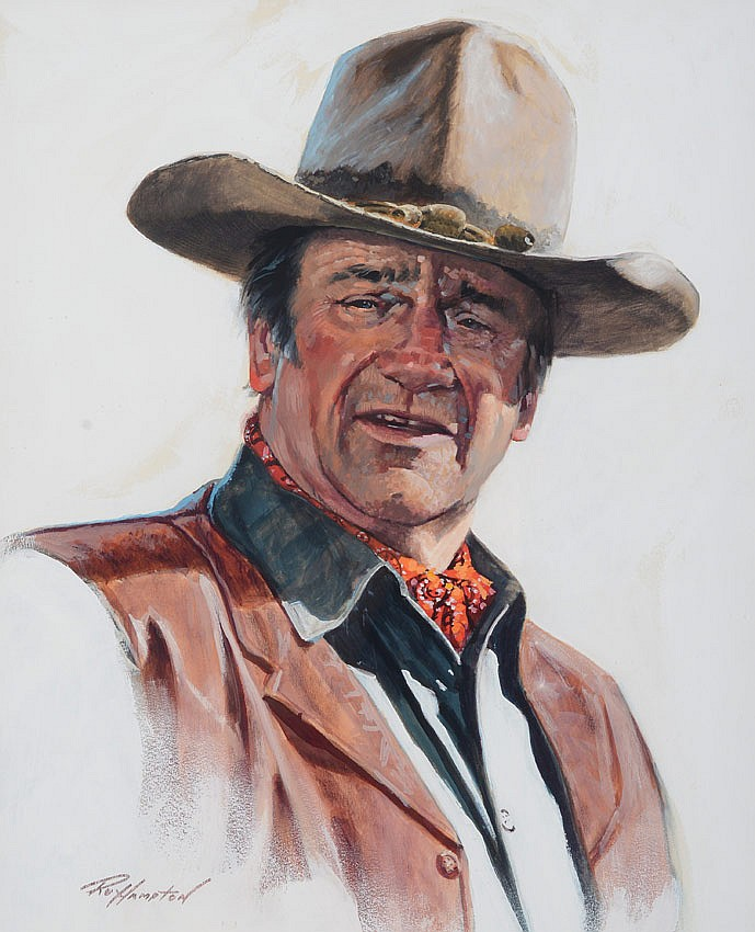 RARE JOHN WAYNE PORTRAIT PAINTING BY ROY HAMPTON