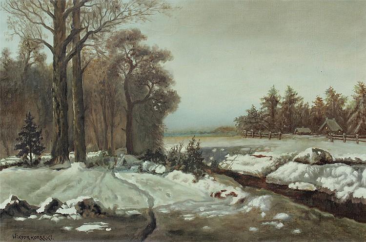 WIKTOR KORECKI SNOWY POLISH LANDSCAPE PAINTING