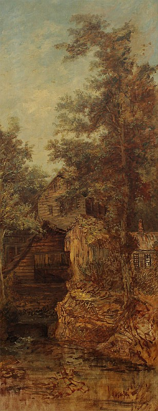 ELIZA GREATOREX LANDSCAPE PAINTING WITH MILL
