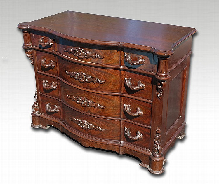 CARVED MAHOGANY 4 DRAWER CHEST
