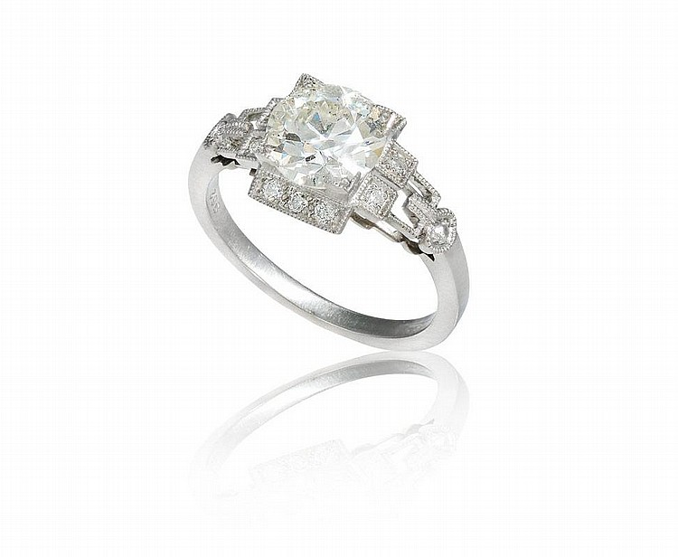 PLATINUM 1.60 CT DIAMOND DECO REVIVAL RING SZ 6.5