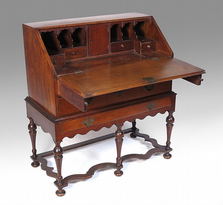 19TH CENTURY FALL FRONT DESK ON STAND
