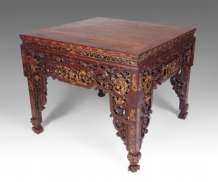 CHINESE HEAVILY CARVED PARCEL GILT CENTER TABLE