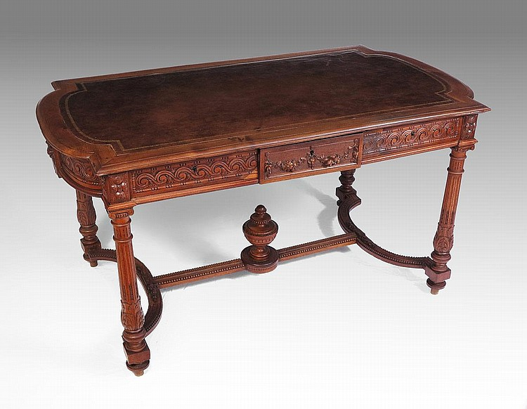 19th C WALNUT LIBRARY TABLE