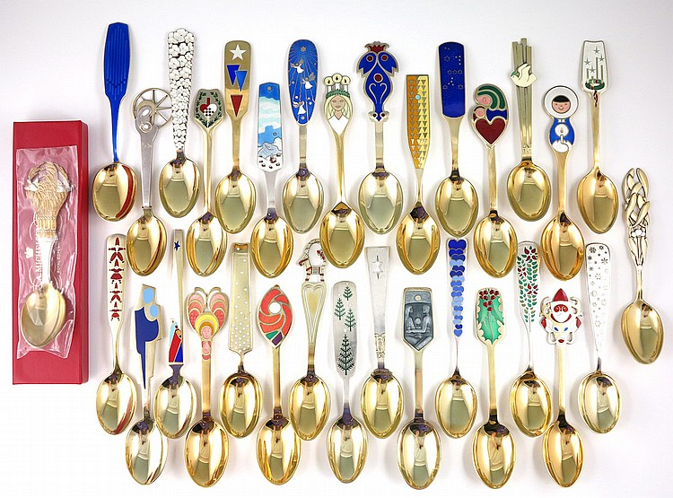 32 MICHELSEN DANISH STERLING CHRISTMAS SPOONS