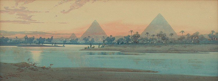 29: A.O. LAMPLOUGH PYRAMIDS AT GIZA PAINTING