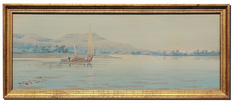 30: A.O. LAMPLOUGH SAILING ON THE NILE AT GIZA