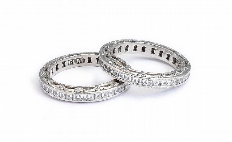 37: PAIR TACORI PLATINUM DIAMOND BAND RINGS SZ 6.5