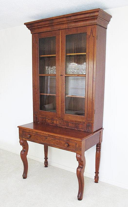 13: 19th C DOUBLE DOOR BOOKCASE CABINET ON STAND