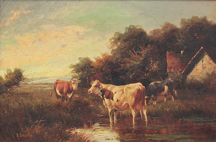 45: VERY GOOD LANDSCAPE PAINTING WITH COWS SGN BOUILLE
