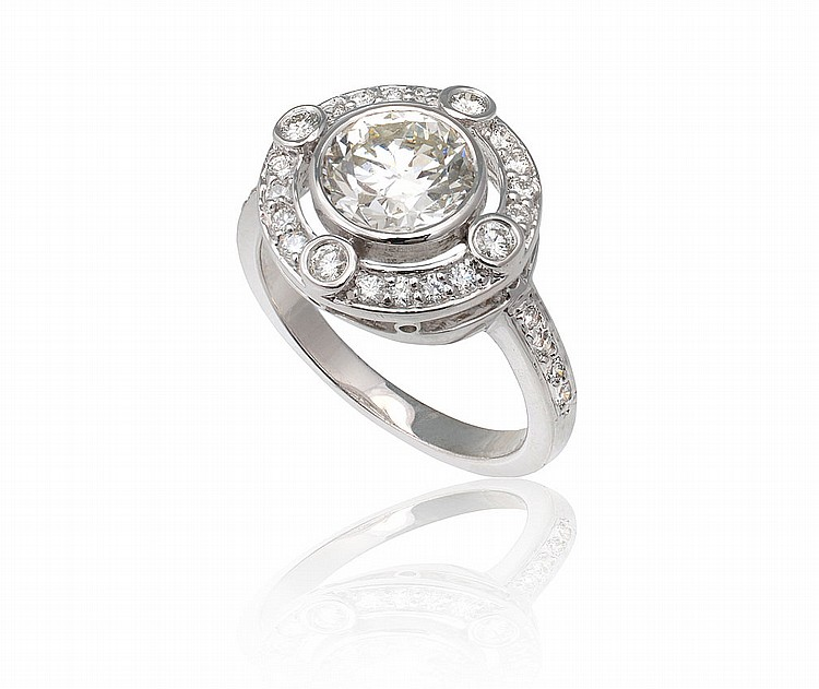 PLATINUM 1.58 CT CENTER DIAMOND RING