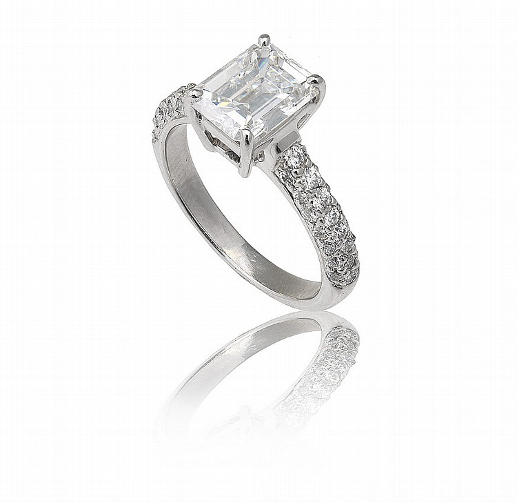 PLATINUM GIA CERT. 1.82 CT DIAMOND RING