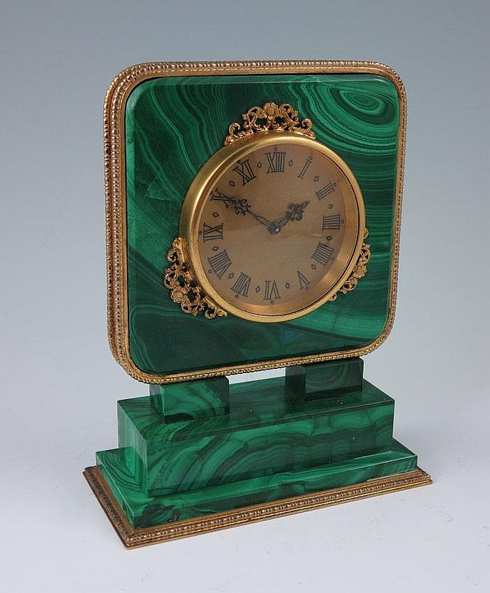ITALIAN SILVER & MALACHITE DESK CLOCK