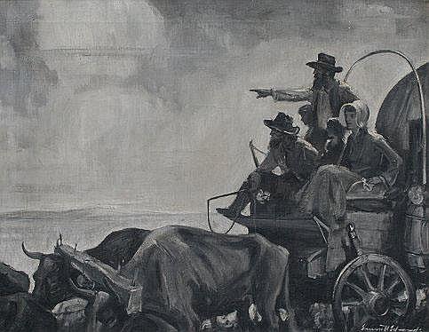 EDWARDS, Emmett, (American, 1906-): Settlers in