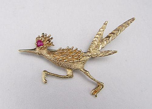 14K GOLD ROAD RUNNER FIGURAL BROOCH PIN 5.8 GR