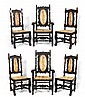 6 CARVED OAK DINING ROOM CHAIRS