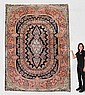 ANTIQUE KERMAN/ KIRMAN HAND KNOTTED WOOL RUG, 11'4