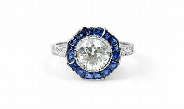 2 CT OLD EURO DIAMOND 1.2O SAPPHIRES SOPOHIA D PLA