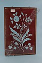 A Victorian ruby glass panel engraved with the