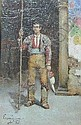 GARCIA, (Spanish Artist) Oil on Panel portrait of a Matador standing by a doorway, signed & inscribed