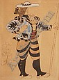 PABLO PICASSO (1881-1973) Watercolour over a print Ballet Costume design from Le Tricorne titled