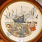 DAVID HOBBS (20th century): Circular Watercolour, beached Hastings fishing vessel