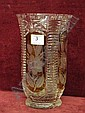 Amber overlay cut glass vase with floral design panels, height  11in, 25in   E50 -