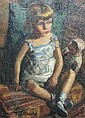 [ Watercolours ] GOLDBERG: Oil on canvas - Portrait of a young girl sitting in a blue Summer dress with a doll, signed & dated 1934, 13in X 22in