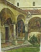 FRANK DICKSEE: Watercolour - Italian courtyard signed with initials Hartnoll Gallery label verso 14in X 10in