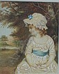 Early 19th century watercolour - Portrait of a young girl wearing a lace bonnet in woodland setting, unsigned, 5.5in. X 4.5 together with a