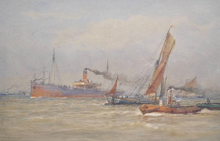 Arthur Wilde Parsons (1854-1931) Watercolour, busy