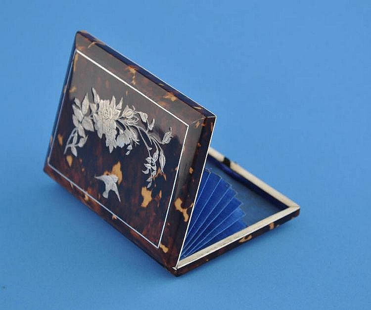 A Victorian tortoise shell card case with inlaid