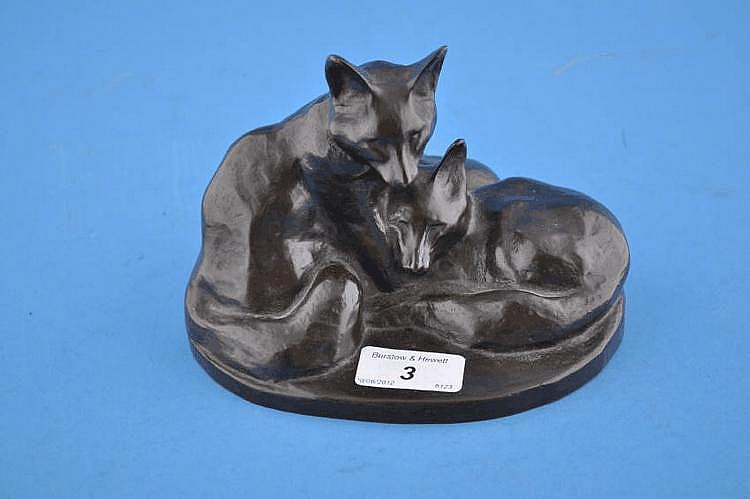 Bronze study of 3 foxes, height 5''