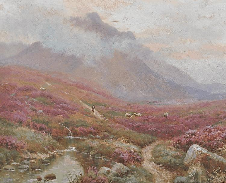 Ernest Longstaffe oil on board, Highland mountain