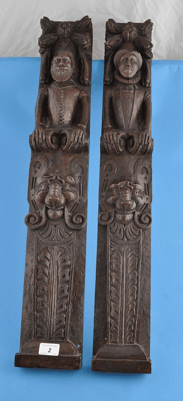 A pair of Antique carved oak pilasters,