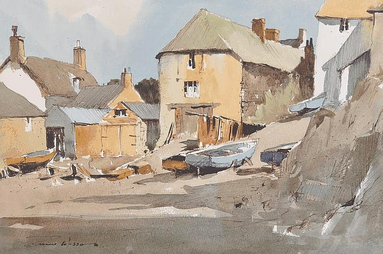 Edward Wesson (1910-1983) watercolour, boatyard,