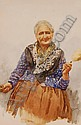 GIANNI Watercolour, Italian woman spinning wool,