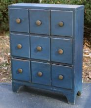BLUE-PAINTED SHAKER-STYLE 9-DRAWER CABINET,