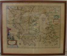 TWO FRAMED MAPS OF ITALY & GREECE