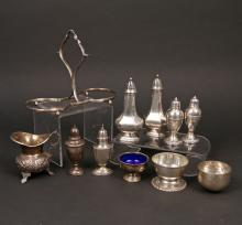 (11pc) STERLING SILVER CONDIMENT VESSELS