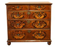 WILLIAM & MARY FLORAL MARQUETRY CHEST