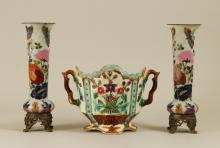 MAJOLICA BOWL & PAIR FRENCH OPALINE VASES
