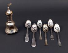(7pc) SILVER: 6 SLOTTED SPOONS & SPICE TOWER